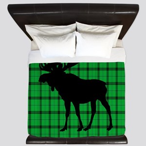Moose: Rustic Green Plaid King Duvet