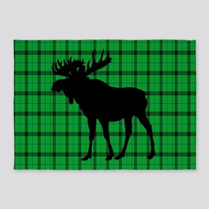 Moose: Rustic Green Plaid 5'x7'Area Rug