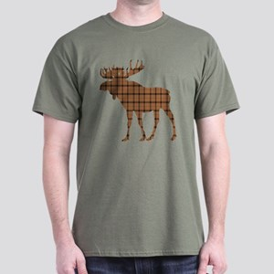 Moose: Brown Plaid Dark T-Shirt
