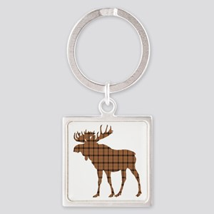 Moose: Brown Plaid Square Keychain