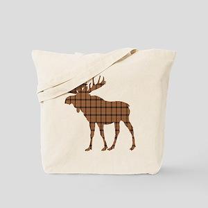 Moose: Brown Plaid Tote Bag