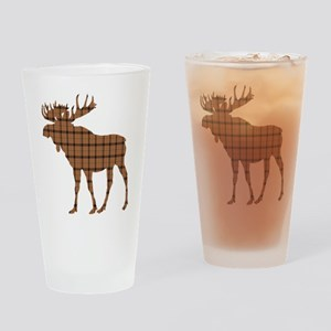 Moose: Brown Plaid Drinking Glass