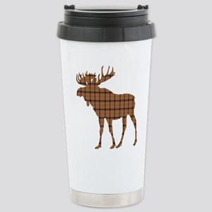 Moose: Brown Plaid Stainless Steel Travel Mug