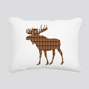 Moose: Brown Plaid Rectangular Canvas Pillow