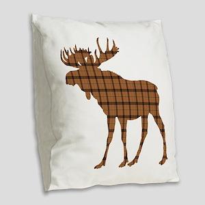 Moose: Brown Plaid Burlap Throw Pillow