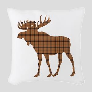 Moose: Brown Plaid Woven Throw Pillow