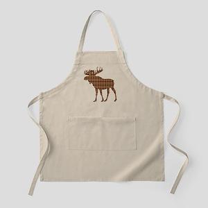 Moose: Brown Plaid Apron