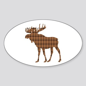 Moose: Brown Plaid Sticker (Oval)