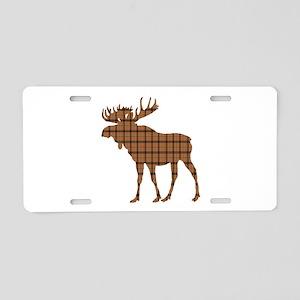Moose: Brown Plaid Aluminum License Plate
