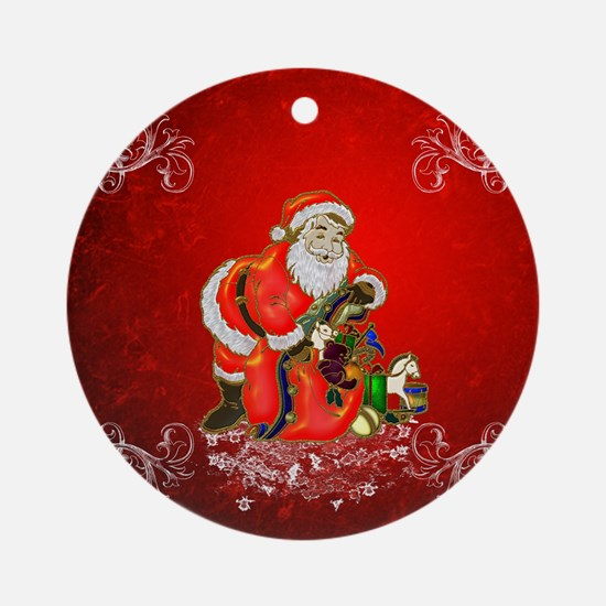 Christmas, Santa Claus Round Ornament