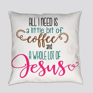 coffee and jesus Everyday Pillow