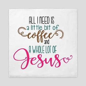 coffee and jesus Queen Duvet