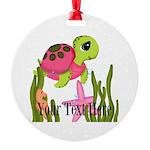 Pink Sea Turtle Ornament
