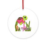 Pink Sea Turtle Round Ornament