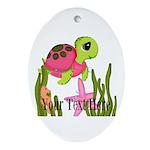 Pink Sea Turtle Oval Ornament