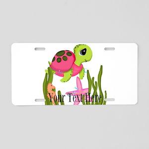Pink Sea Turtle Aluminum License Plate
