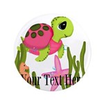 Pink Sea Turtle Button