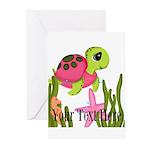 Pink Sea Turtle Greeting Cards
