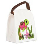 Pink Sea Turtle Canvas Lunch Bag