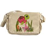 Pink Sea Turtle Messenger Bag