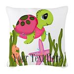 Pink Sea Turtle Woven Throw Pillow