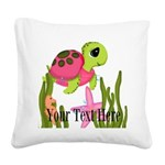 Pink Sea Turtle Square Canvas Pillow