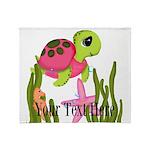 Pink Sea Turtle Throw Blanket
