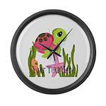Pink Sea Turtle Large Wall Clock