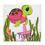 Pink Sea Turtle Tile Coaster