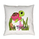 Pink Sea Turtle Everyday Pillow