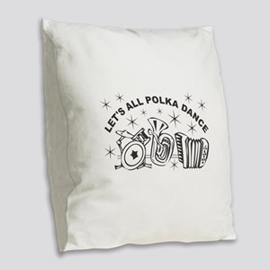 Polka Dance Burlap Throw Pillow