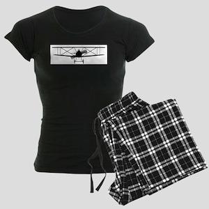 Biplane Silhouette Women's Dark Pajamas