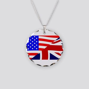 USA and UK Flags Necklace Circle Charm