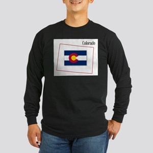 Colorado State Map and Flag Long Sleeve T-Shirt