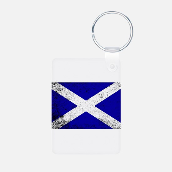 Scotish Flag Grunge Keychains