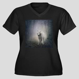 White Wolf Women's Plus Size V-Neck Dark T-Shirt