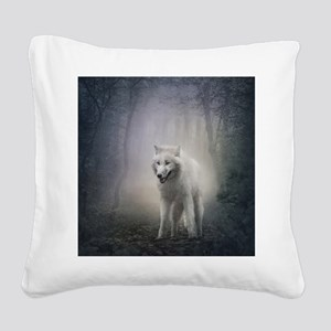 White Wolf Square Canvas Pillow
