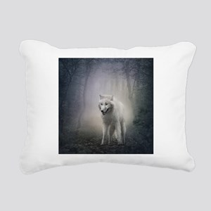 White Wolf Rectangular Canvas Pillow