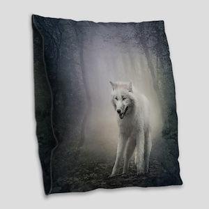 White Wolf Burlap Throw Pillow