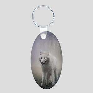 White Wolf Aluminum Oval Keychain