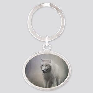White Wolf Oval Keychain
