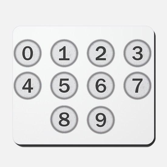 Typewriter Keys Numbers Mousepad