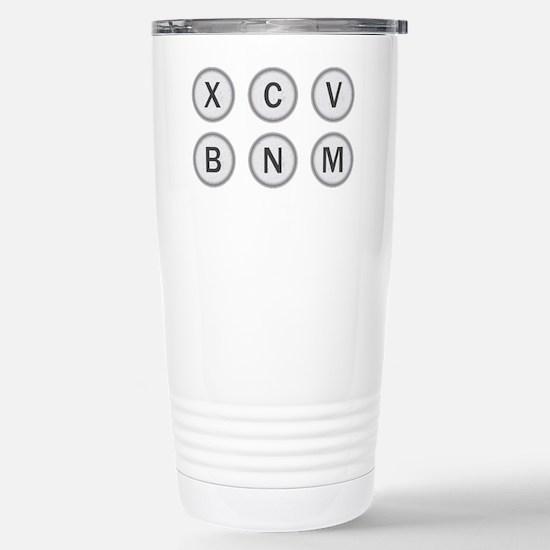 Typewriter Keys XCVBNM Stainless Steel Travel Mug