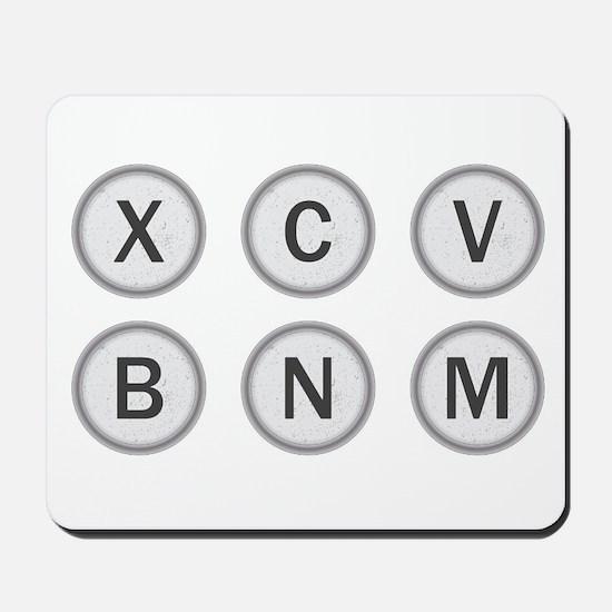 Typewriter Keys XCVBNM Mousepad