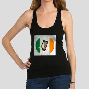Irish Flag With Harp Button Racerback Tank Top