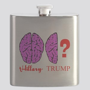 Hillary And Trump Brains Flask