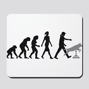 Evolution of woman dog sport agility Mousepad