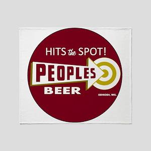 Peoples Beer Logo, red, round Throw Blanket