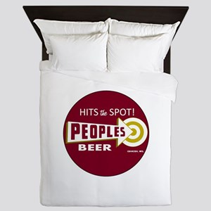 Peoples Beer Logo, red, round Queen Duvet