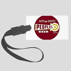 Peoples Beer Logo, red, round Large Luggage Tag